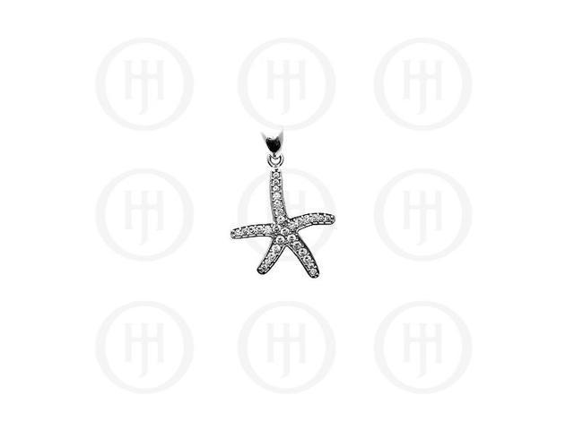 Sterling Silver CZ Starfish Pendant