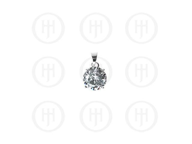Sterling Silver 5mm Circle CZ Pendant