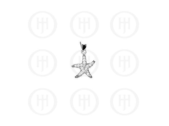 Sterling Silver CZ Starfish Pendant Small -