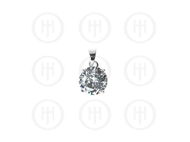 Sterling Silver 6mm Circle CZ Pendant