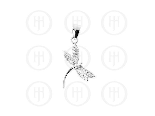 Sterling Silver Fancy Rhodium Plated Assorted CZ Dragonfly Pendant