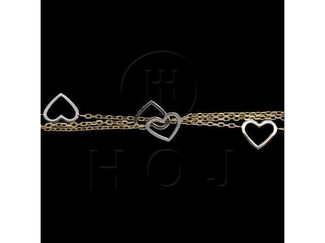 14K Gold Bracelet Three-Chain Heart 005
