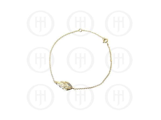 Sterling Silver Fancy Italian Rhodium Plated Gold Colour Feather Bracelet