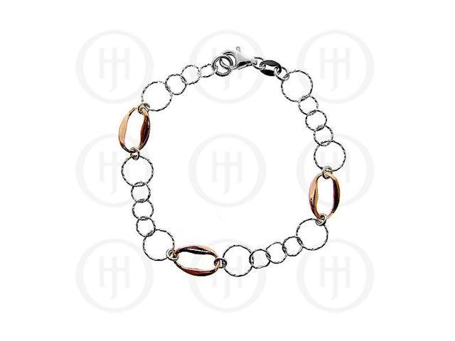 Sterling Silver Fancy Italian Rhodium Plated Rose Colour Bracelet
