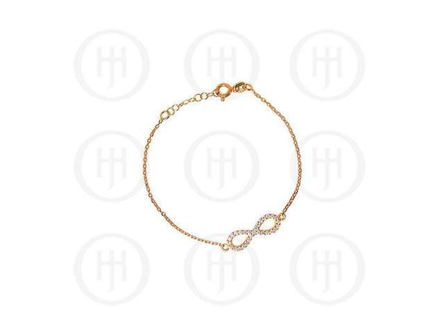 Sterling Silver Rose Colour Plated CZ Infinity Bracelet