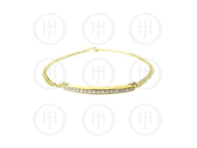 Sterling Silver Yellow Gold Plated CZ Bar Bracelet