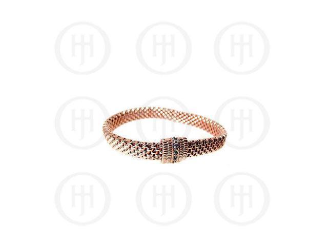 Sterling Silver Fancy Italian Rose Colour Plated Stretch Bracelet