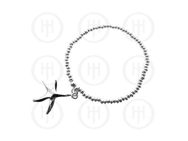 Sterling Silver Rhodium Plated Bracelet Stretchy with Star Fish Charm
