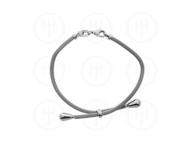 Sterling Silver Rhodium Plated Calza Bracelet Fancy Italian