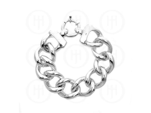 Sterling Silver Fancy Italian Hollow Curb Bracelet