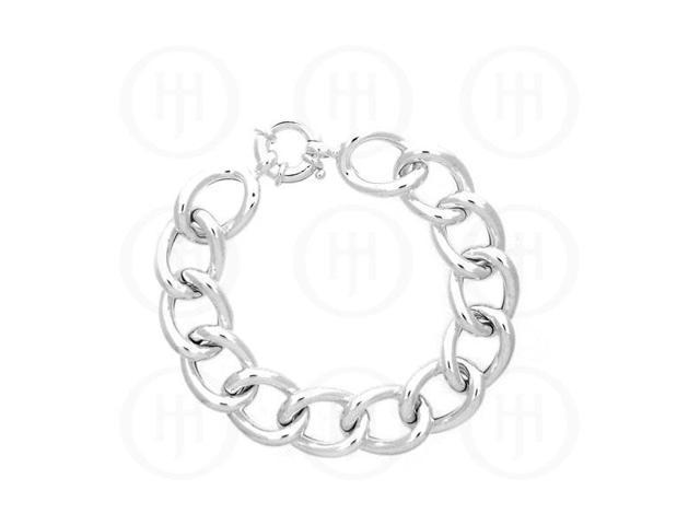 Sterling Silver Fancy Italian Hollow Curb Bracelet