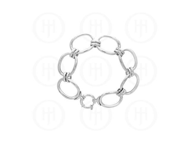 Sterling Silver Fancy Italian Hollow Figaro Bracelet