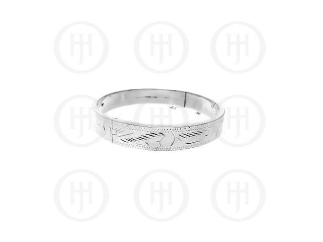 Sterling Silver Engraved Bangle 10 mm