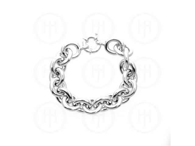 Sterling Silver Fancy Italian Hollow ROLO Bracelet