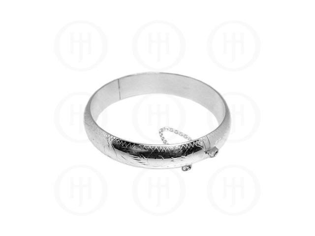 Sterling Silver Engraved Bangle 15 mm