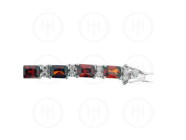 Sterling Silver Rhodium Plated Garnet CZ Emerald Cut Tennis Bracelet