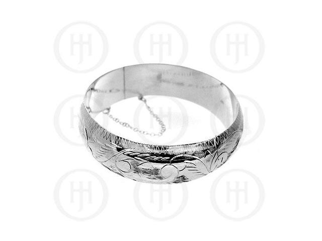 Sterling Silver Engraved Bangle 18mm