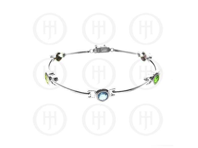 Sterling Silver Multi-Colour Circle CZ Tennis Bracelet