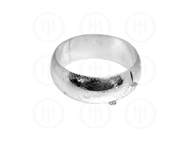 Sterling Silver Engraved Bangle 25 mm