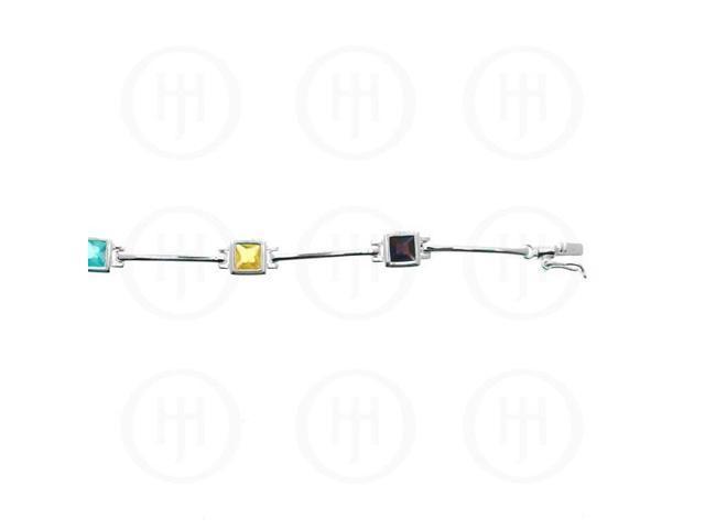 Sterling Silver Multi-Colour Square CZ Tennis Bracelet