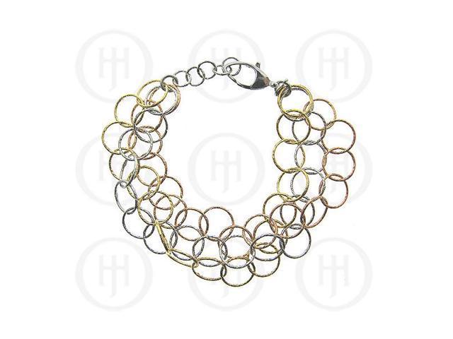 Sterling Silver Fancy Italian Rhodium Plated Tri-Colour Bracelet