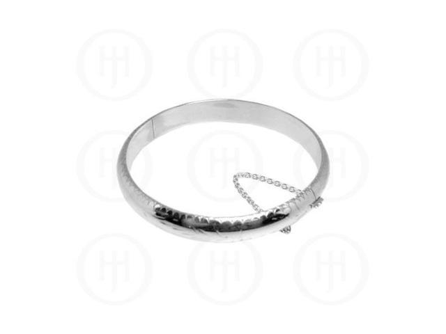 Sterling Silver Engraved Bangle 9 mm