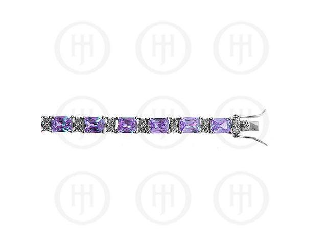 Sterling Silver Rhodium Plated Amethyst CZ Emerald Cut Tennis Bracelet