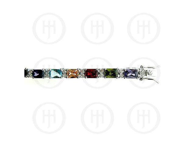 Sterling Silver Rhodium Plated Multi Colour CZ Emerald Cut Tennis Bracelet