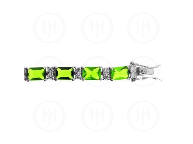 Sterling Silver Rhodium Plated Peridot CZ Emerald Cut Tennis Bracelet