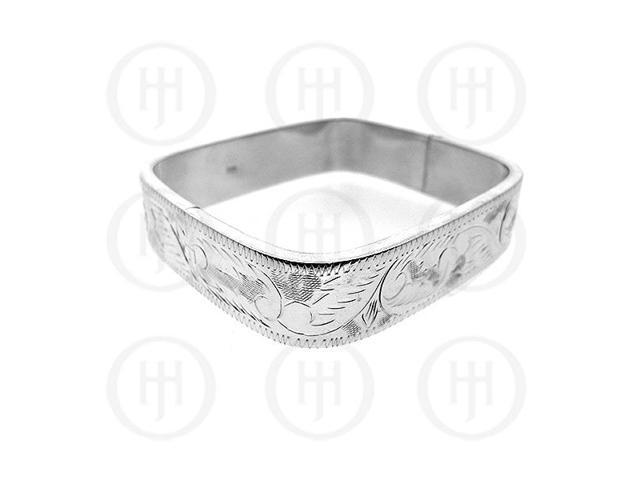 Sterling Silver Engraved Square Bangle 15mm