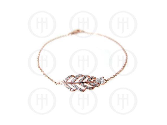 Sterling Silver Rose Colour Plated CZ Leaf Bracelet