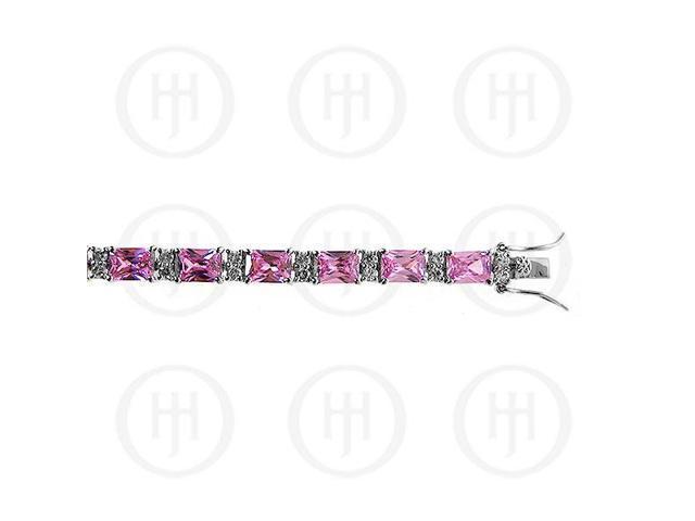 Sterling Silver Rhodium Plated Pink CZ Emerald Cut Tennis Bracelet