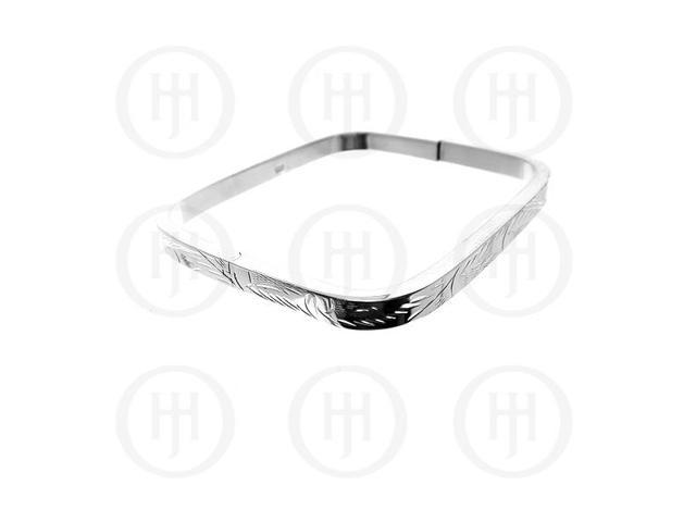 Sterling Silver Engraved Square Bangle 5mm