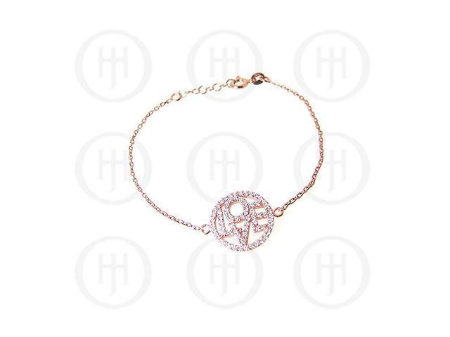 Sterling Silver Rose Colour Plated LOVE Bracelet