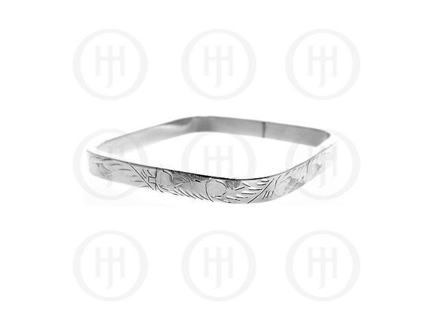 Sterling Silver Engraved Square Bangle 7mm