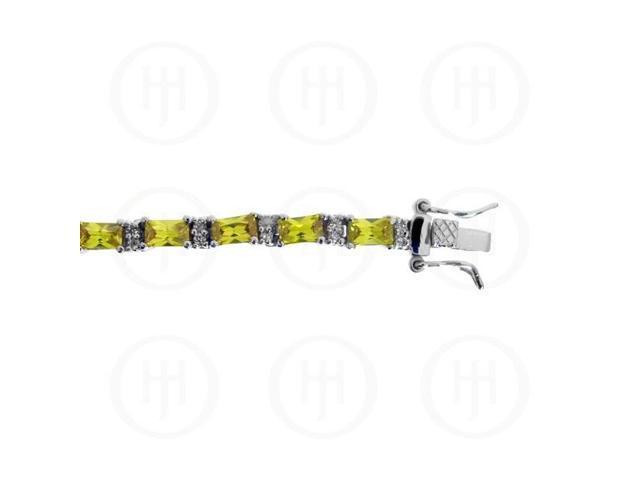 Sterling Silver Rhodium Plated Yellow CZ Emerald Cut Tennis Bracelet