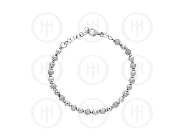 Sterling Silver Satin Finish Rhodium Plated Bracelet