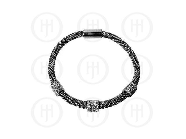 Sterling Silver Magnetic Tri-Colour Bracelet With Swarvoski Crystals 5mm