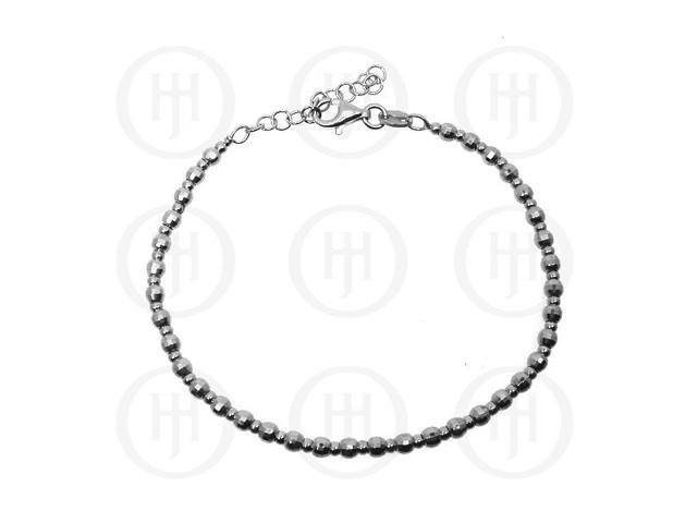 Sterling Silver Tri-Colour Rhodium Plated D/C Ball Bracelet 3mm