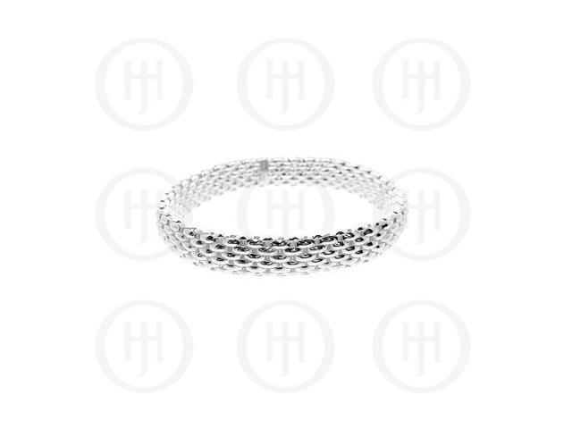 Sterling Silver Tri-Colour Rhodium Plated Flat Stretch Bracelet