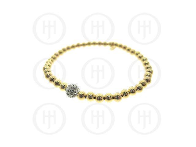 Sterling Silver Rhodium Plated Bracelet Stretchy w/Swarvoski Ball