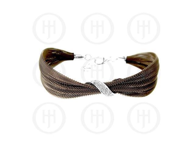 Sterling Silver Fancy Italian Mesh w/ CZ crystals Bracelet