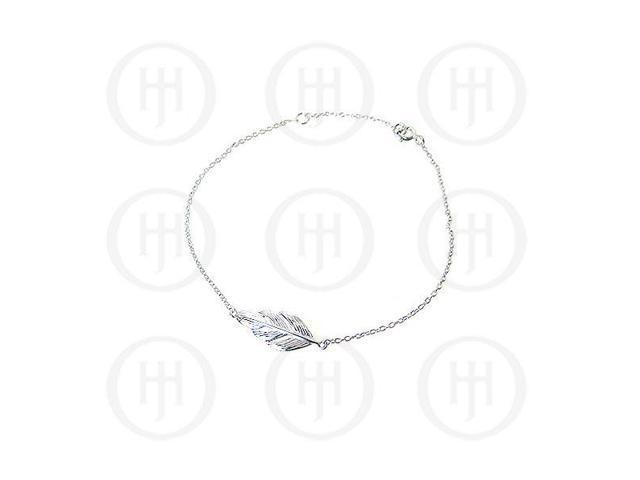 Sterling Silver Fancy Italian Rhodium Plated Feather Bracelet