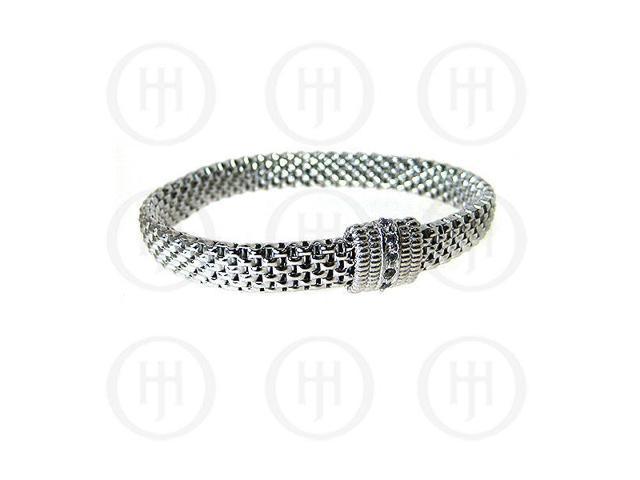Sterling Silver Fancy Italian Rhodium Plated Stretch Bracelet
