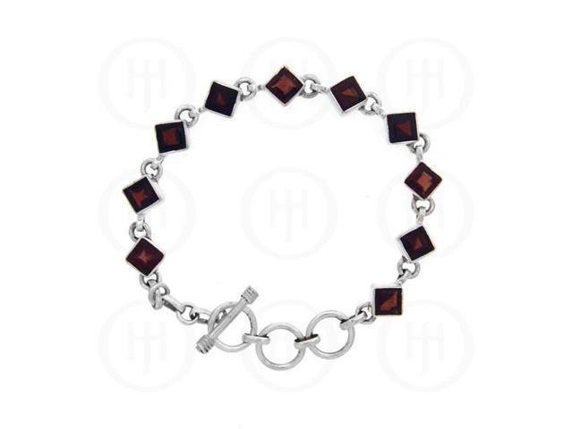 Sterling Silver Bracelet Garnet Stone