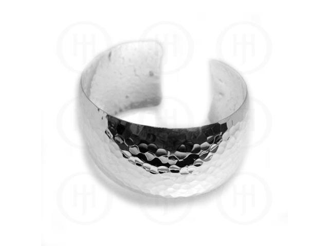 Sterling Silver Hammered Cuff Bangle 40mm