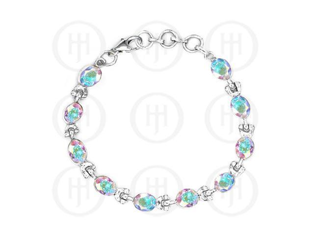 Sterling Silver White Mystic Topaz Gemstone Bracelet