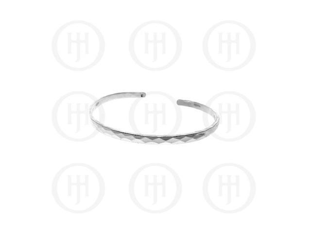 Sterling Silver Hammered Cuff Bangle 4mm