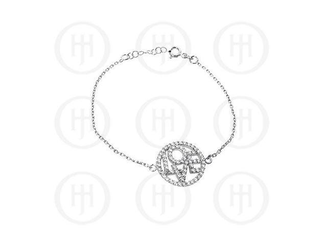 Sterling Silver Rhodium Plated LOVE Bracelet