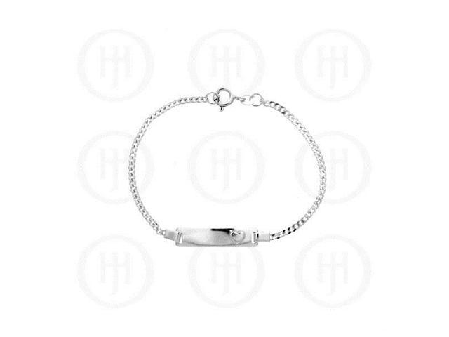 Sterling Silver ID Bracelet Curb Baby's with Heart 2mm 6inch
